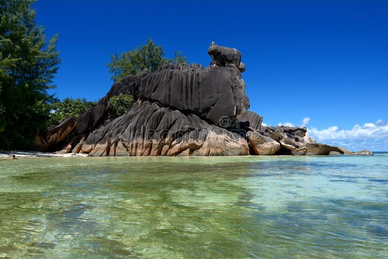 La Digue Seychellen stock foto's
