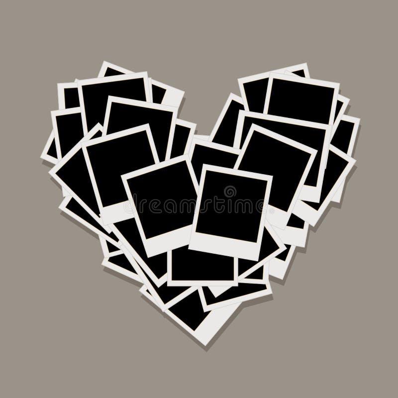 La dimensión de una variable del corazón, marcos de la foto, inserta sus fotos stock de ilustración