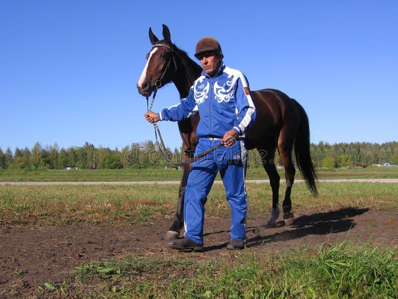La dimostrazione dell'asta del cavallo dell'uomo dell'ippodromo di Novosibirsk dei cavalli conduce un cavallo fotografia stock libera da diritti