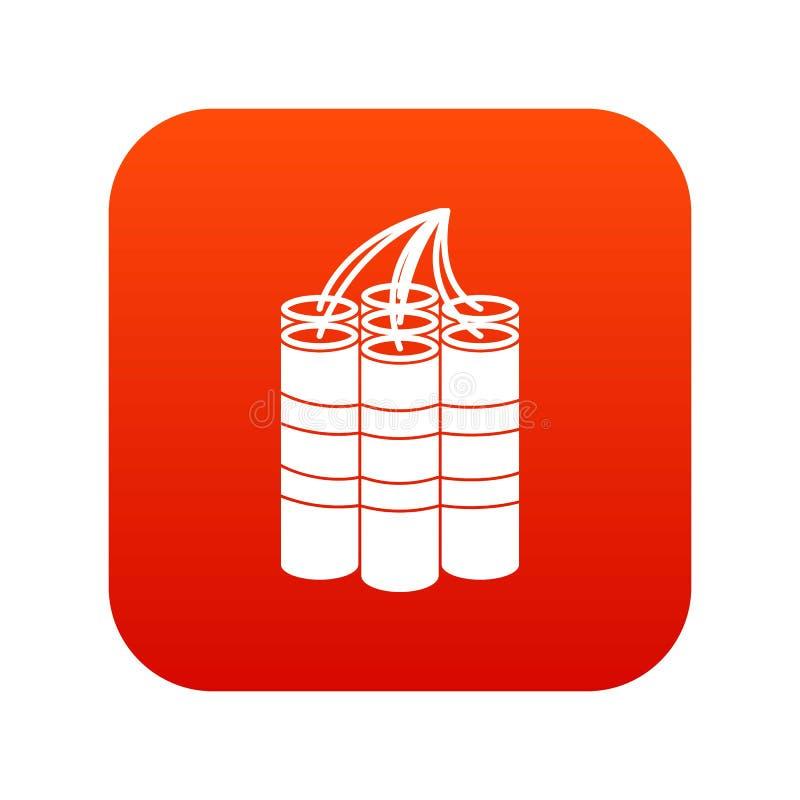 La dinamita pega rojo digital del icono stock de ilustración