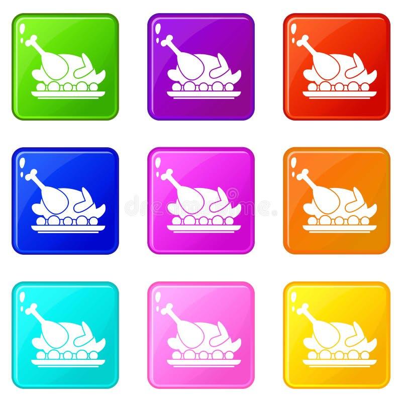 La dinde rôtie a placé 9 illustration de vecteur