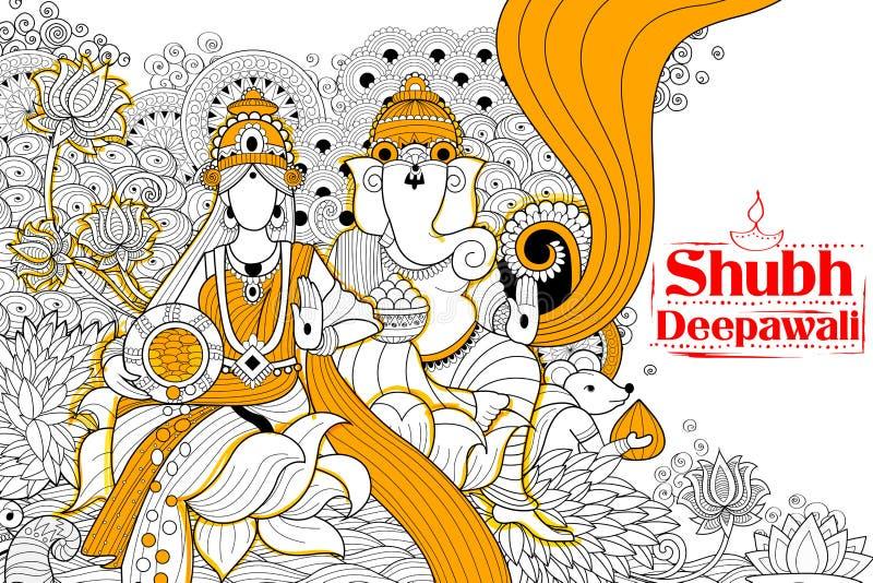 La diosa Lakshmi y Lord Ganesha en el día de fiesta feliz de Diwali garabatea el fondo para el festival ligero de la India libre illustration