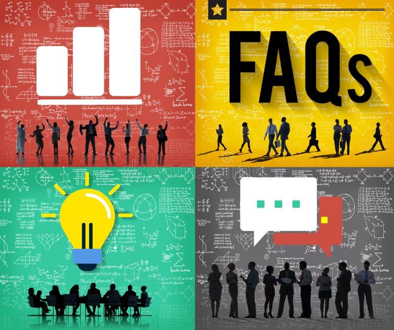 La dirección de los FAQ contesta a concepto de la reacción de las preguntas ilustración del vector