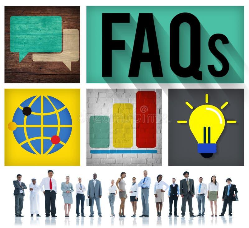 La dirección de los FAQ contesta a concepto de la reacción de las preguntas foto de archivo libre de regalías