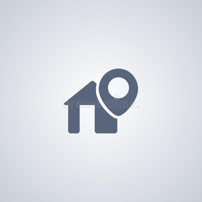 La dirección, ubicación, vector el mejor icono plano stock de ilustración