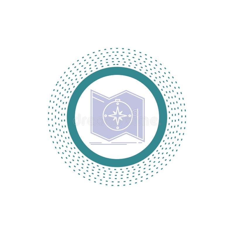 La direzione, esplora, traccia, traversa, icona di glifo di navigazione Illustrazione isolata vettore illustrazione di stock