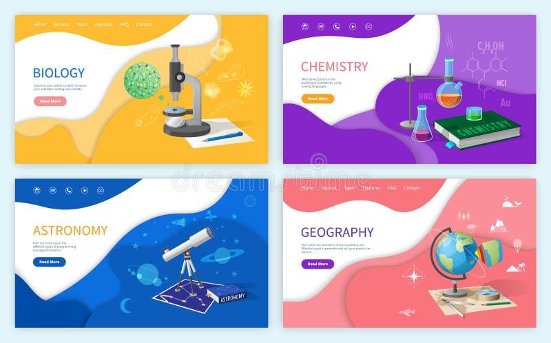 La discipline de biologie, matière d'enseignement l'astronomie illustration stock