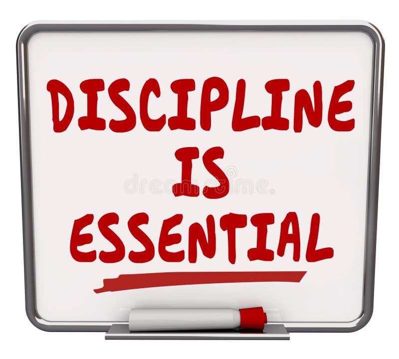 La discipline est contrôle sec d'engagement de conseil d'effacement de mots essentiels illustration de vecteur