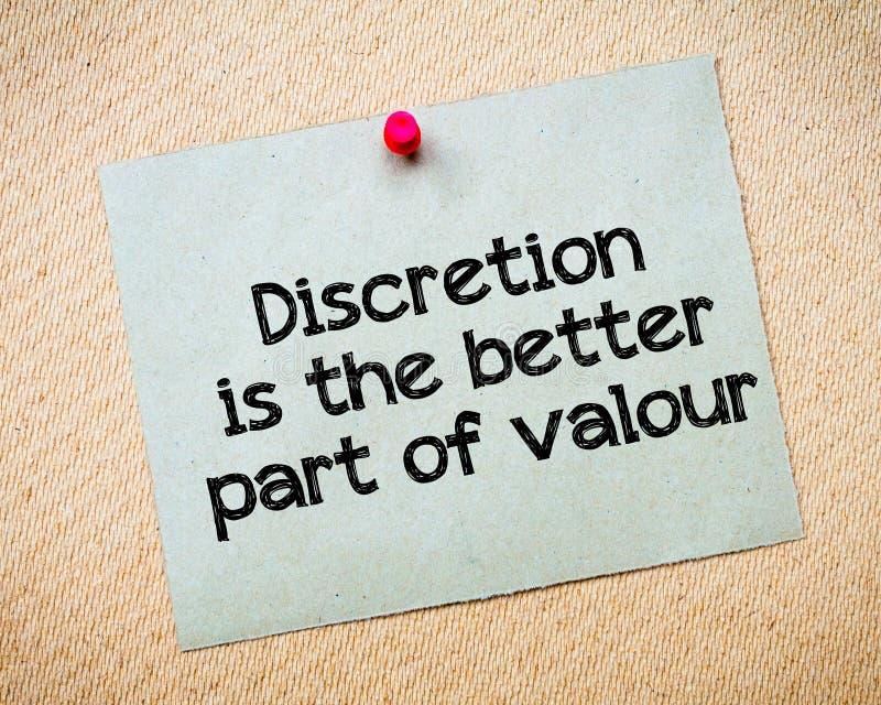 La discrétion est la meilleure partie de bravoure image libre de droits