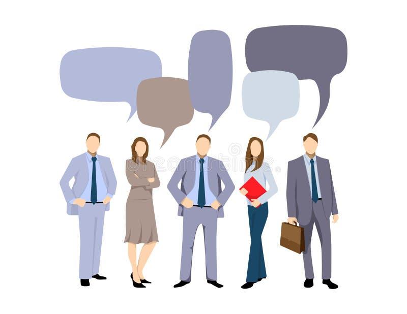 La discussion d'affaires, hommes d'affaires discutent le réseau social, actualités, réseaux sociaux, causerie, bulles de la parol illustration stock