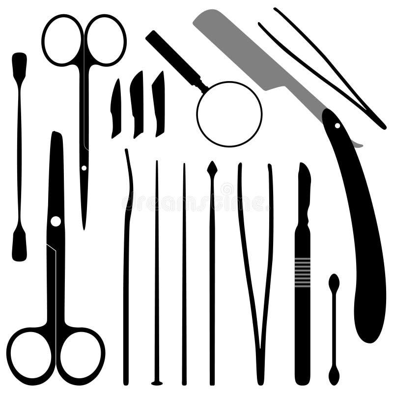 La disección filetea el equipo y kits ilustración del vector