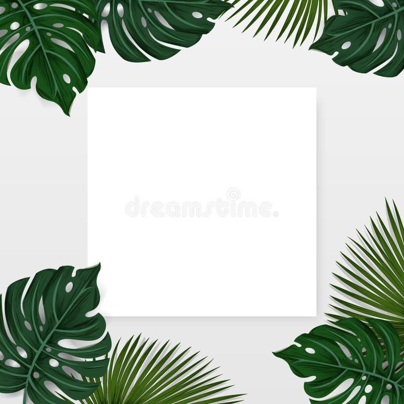 La disposición creativa hizo el fondo tropical con las hojas de palma exóticas y las plantas con la nota de la tarjeta del Libro  stock de ilustración