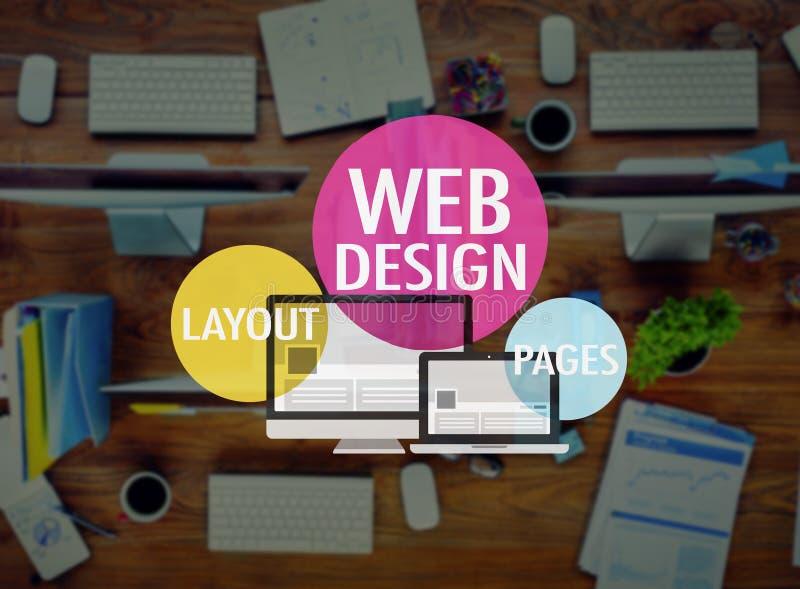 La disposición de diseño web pagina concepto del sitio web WWW del desarrollo fotos de archivo
