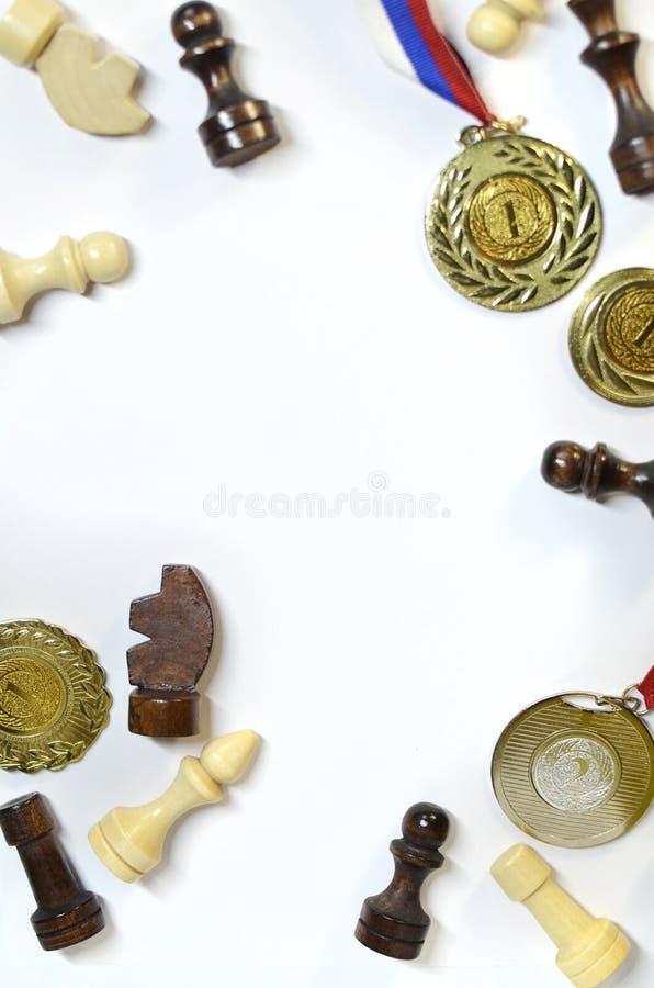 La disposición de mis logros, medallas para la victoria en ajedrez fotos de archivo