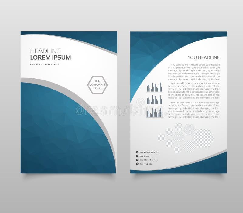 La disposición, el aviador y la cubierta modernos del folleto diseñan la plantilla con los gráficos planos de papel poligonales P stock de ilustración