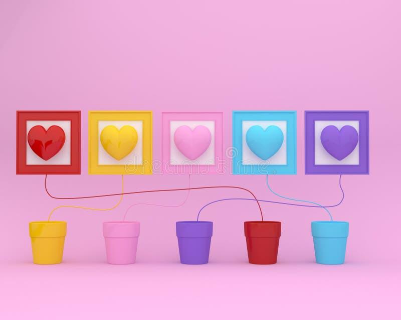 La disposition créative d'idée faite de coeurs colorés forment avec le pot de fleurs et le cadre de tableau sur le fond rose conc illustration stock