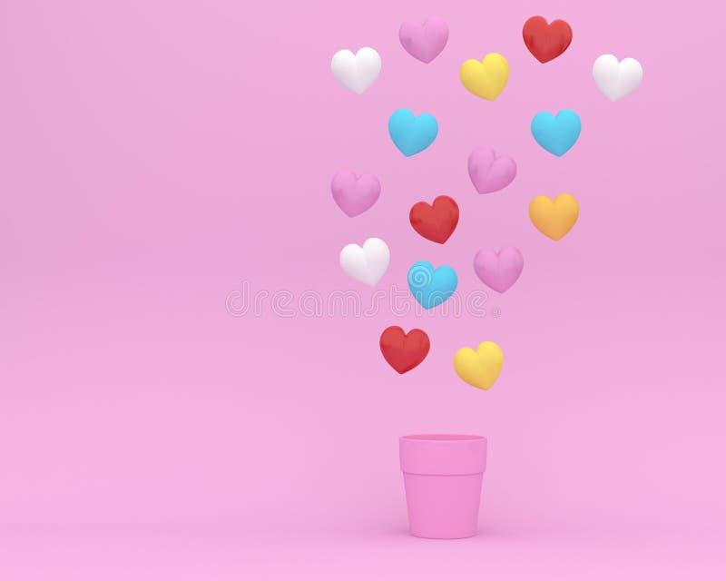 La disposition créative d'idée faite de coeurs colorés forment le flotteur avec le pot de fleurs sur le fond rose concept minimal illustration de vecteur