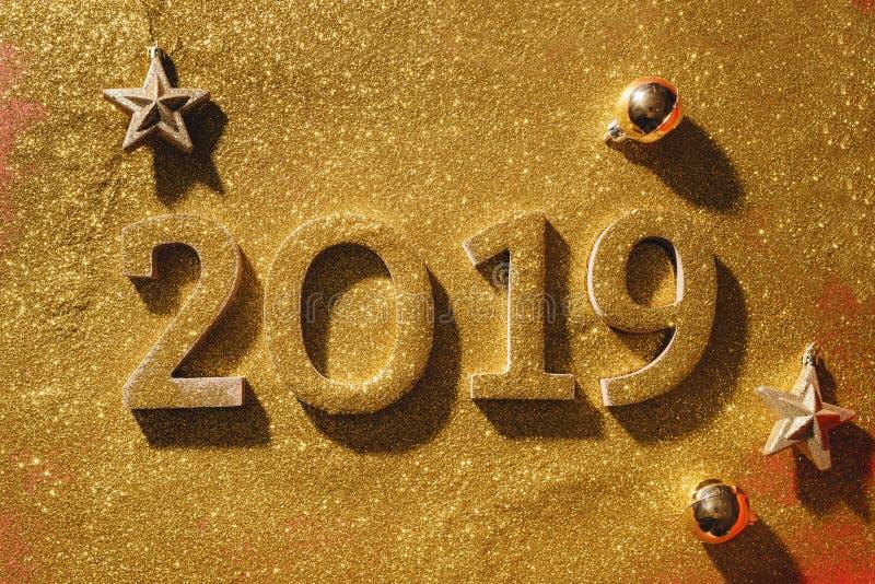 La disposition de la bonne année bloc-notes 2019 et espace libre de numéros pour images libres de droits