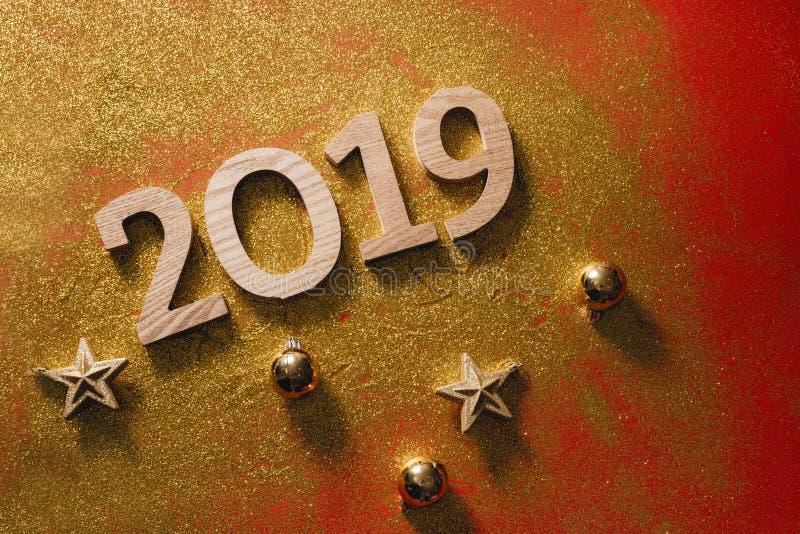 La disposition de la bonne année bloc-notes 2019 et espace libre de numéros pour image stock