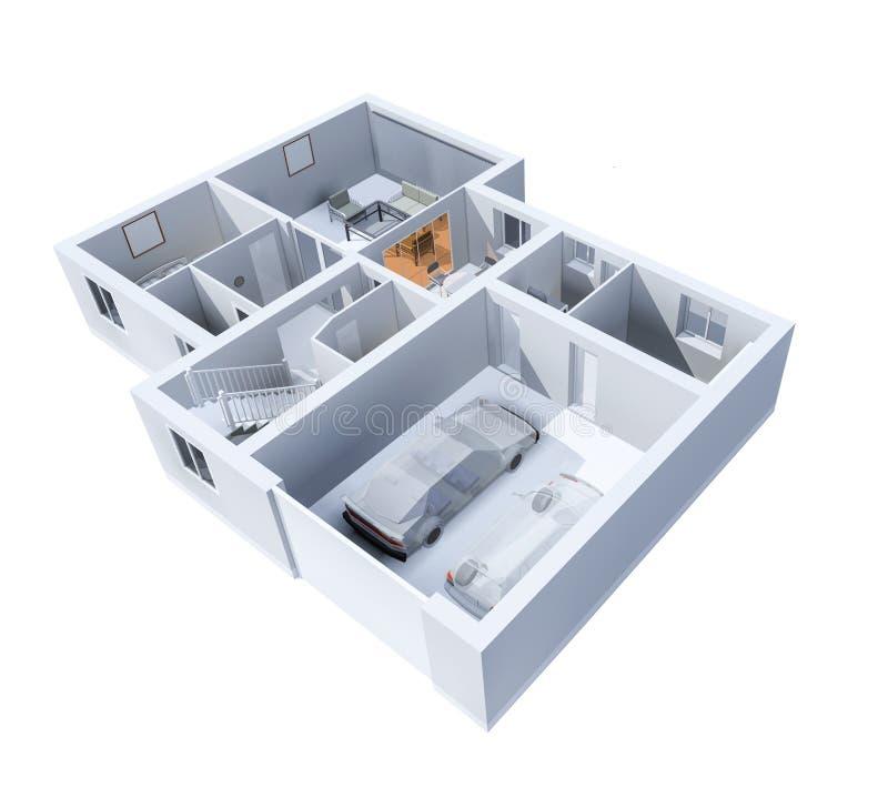 La disposition de l'appartement, un cottage privé avec un garage Vue supérieure, illustration 3d illustration de vecteur