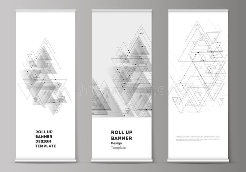 La disposition editable de vecteur de enroulent des supports de bannière, insectes verticaux, calibres d'affaires de conception d illustration stock