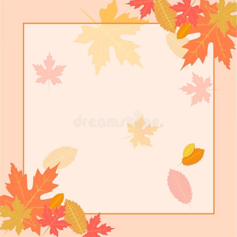La disposizione del fondo di autunno decora con le foglie e lo spazio vuoto per il vostro testo illustrazione di stock