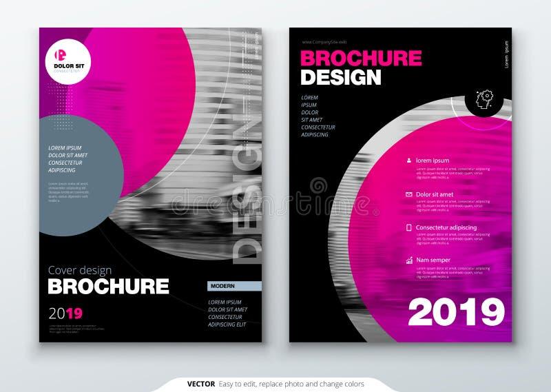 La disposizione del modello dell'opuscolo, il rapporto annuale di progettazione della copertura, la rivista, l'aletta di filatoio illustrazione di stock
