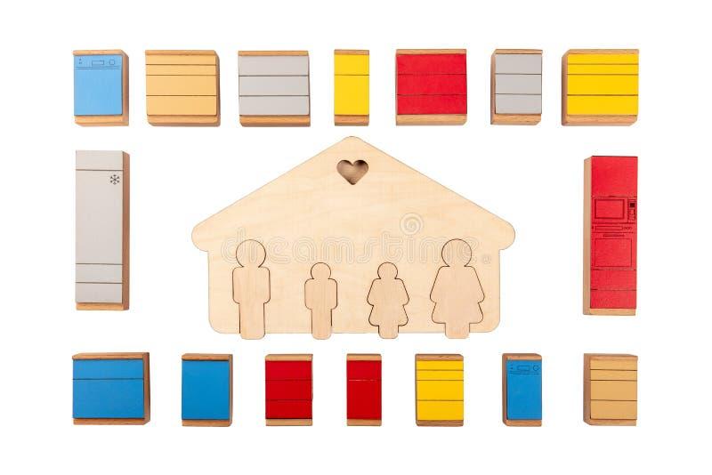La disposizione della mobilia della cucina Il concetto a casa sta fornendo immagini stock
