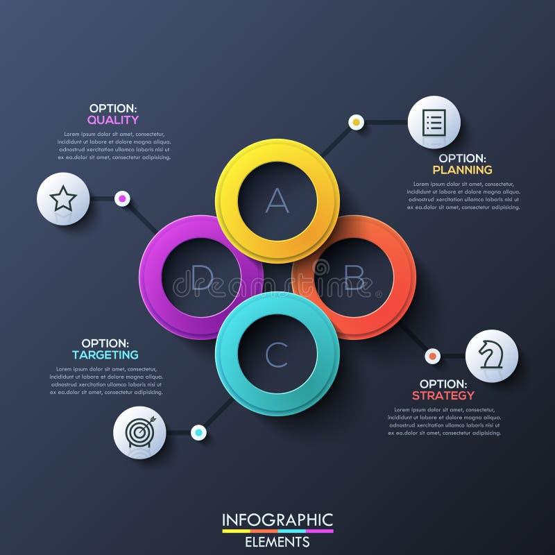 La disposizione di progettazione infographic moderna con 4 ha segnato gli anelli con lettere di sovrapposizione illustrazione vettoriale
