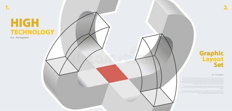 La disposizione grafica ha messo con forma di vettore di curvatura dell'estratto, rievocativa di sviluppo tecnologico illustrazione vettoriale