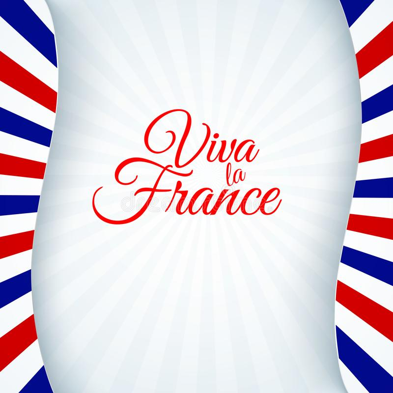 La disposizione patriottica dell'insegna dell'opuscolo del fondo della bandiera della Francia del manifesto con le linee barra il illustrazione di stock