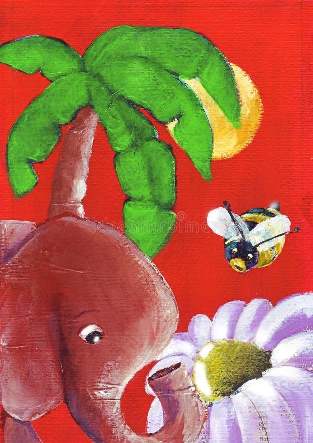 La disputa del fiore fra un ape e un elefante illustrazione vettoriale