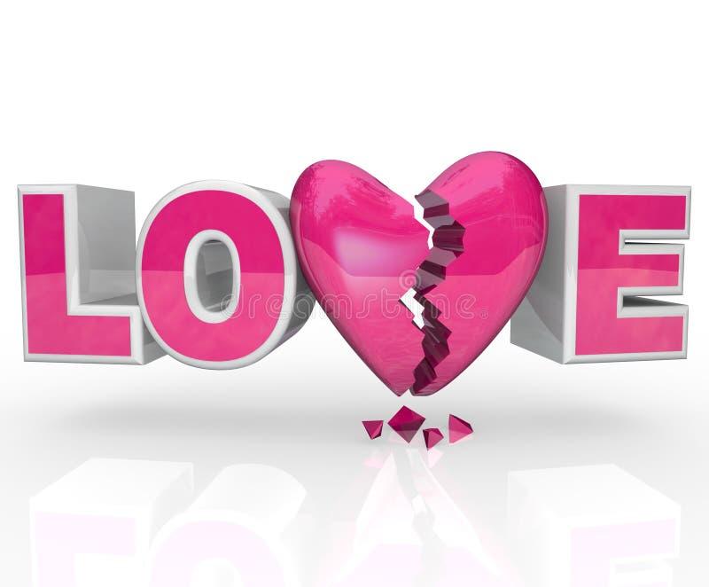 La dissolution de mot de coeur cassé d'amour termine le rapport illustration stock