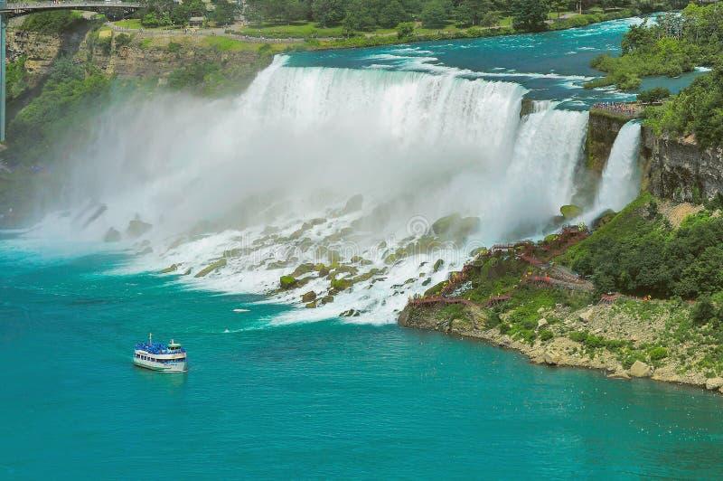 la distance nuptiale américaine tombe le côté en fer à cheval de Niagara nous voile images libres de droits