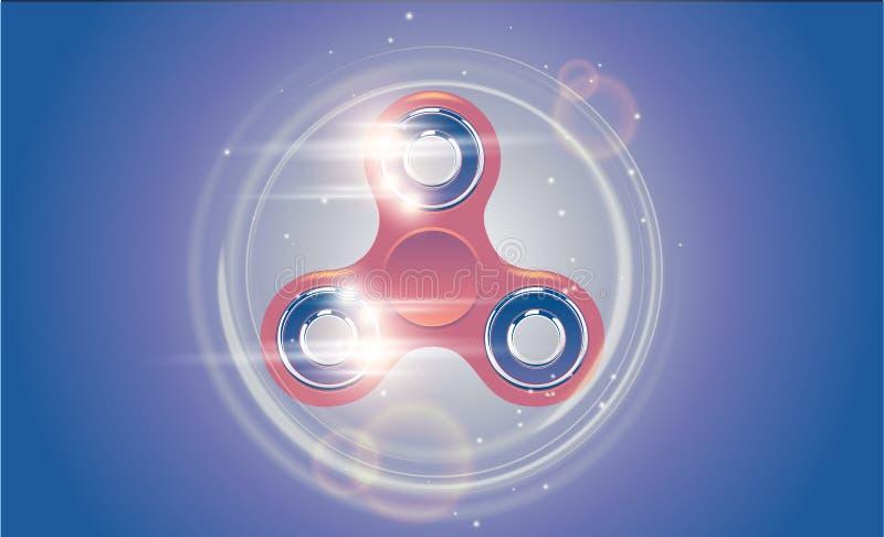 La distensione della tensione girante del filatore del dito di irrequietezza passa il giocattolo con effetto della luce di moto illustrazione vettoriale