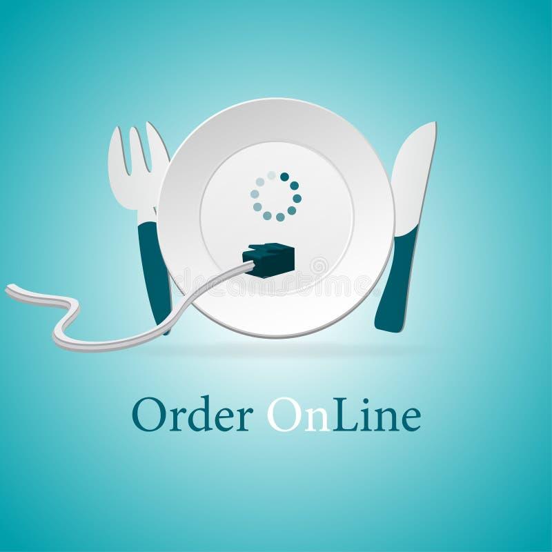 La distribution de nourriture de commande en ligne illustration stock