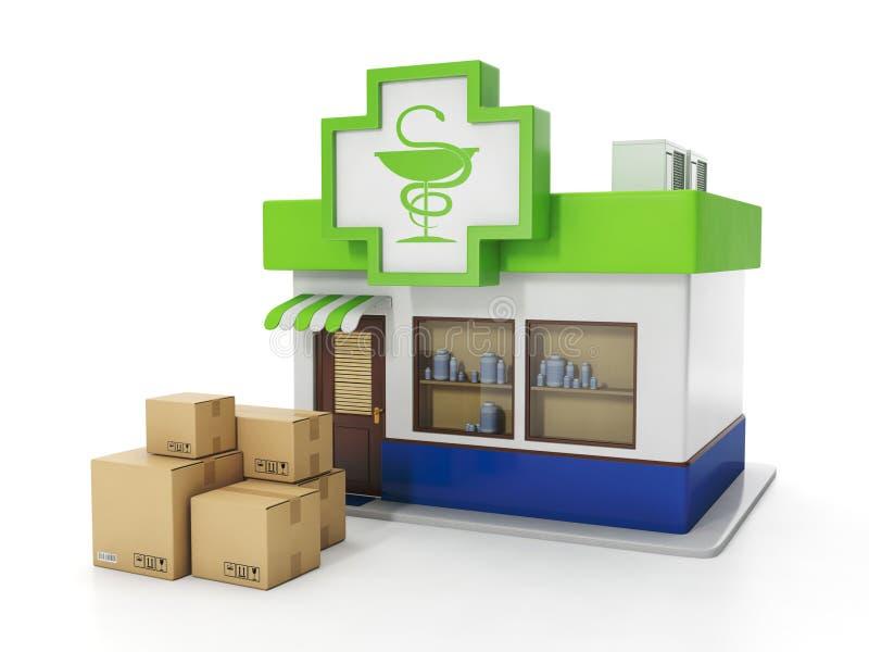 La distribution des marchandises de la pharmacie illustration de vecteur