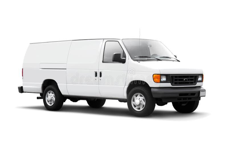 La distribution Van blanche sur le blanc avec l'ombre de baisse images stock