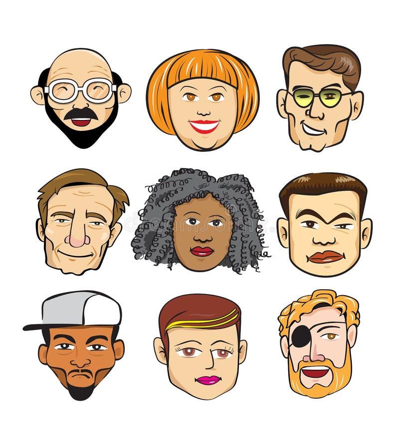 La diversa gente allegra affronta il gruppo di concetto illustrazione di stock