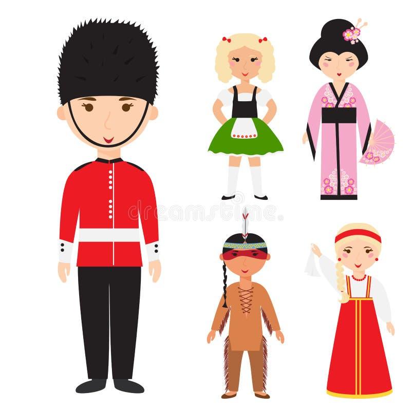 La diversas ropa de las nacionalidades de los personajes de dibujos animados diversos de los avatares y gente de los estilos de p stock de ilustración