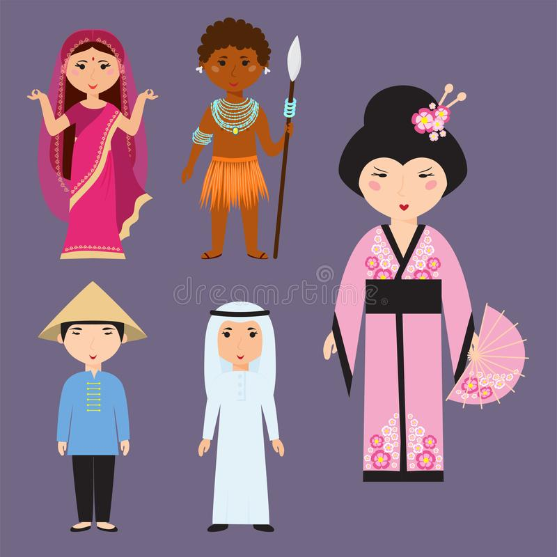 La diversas ropa de las nacionalidades de los personajes de dibujos animados diversos de los avatares y gente de los estilos de p ilustración del vector