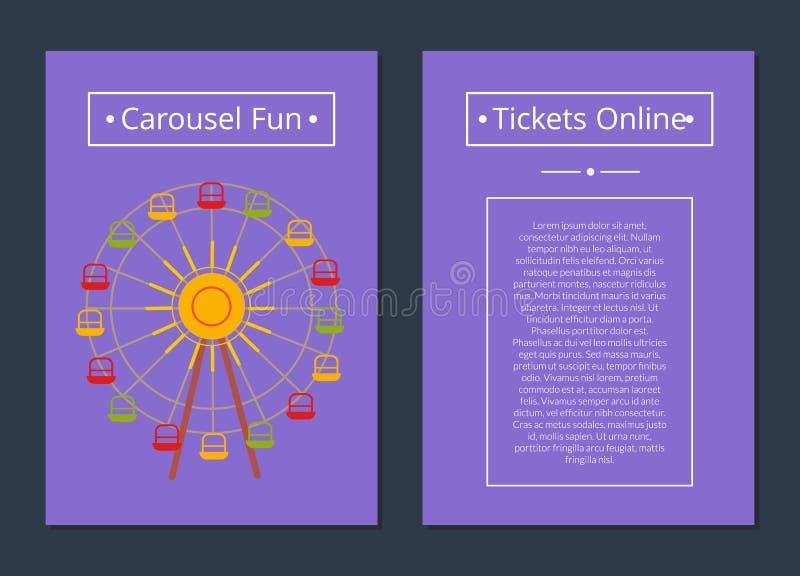 La diversión del carrusel marca el cartel en línea Ferris Wheel libre illustration