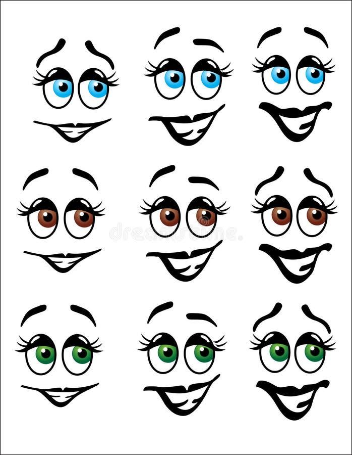 La diversión Emoji hace frente con los ojos coloreados libre illustration