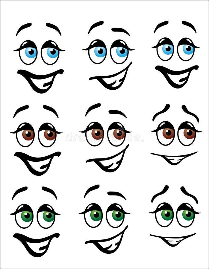 La diversión Emoji hace frente con los ojos coloreados stock de ilustración
