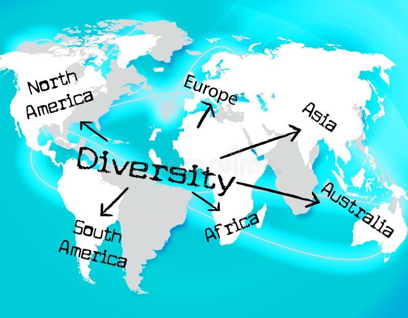 La diversidad del mundo indica la mezcla y la tierra stock de ilustración