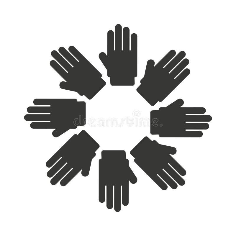 la diversidad del símbolo de las manos aisló diseño del icono ilustración del vector