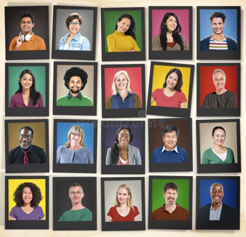 La diversità della gente affronta il concetto della Comunità del ritratto del viso umano fotografia stock libera da diritti