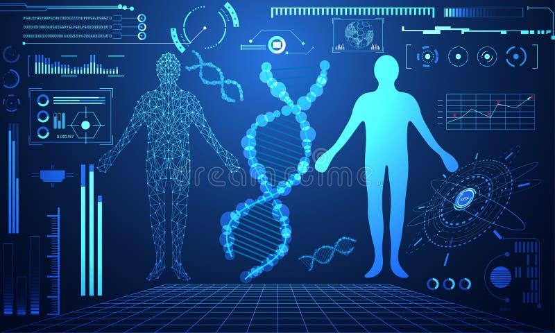 La DNA digital humana de la tecnología del concepto futurista abstracto del ui cura stock de ilustración