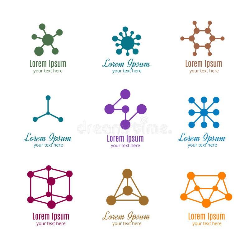 La DNA y la molécula vector los logotipos para la tecnología, medicina, ciencia, química, biotecnología ilustración del vector