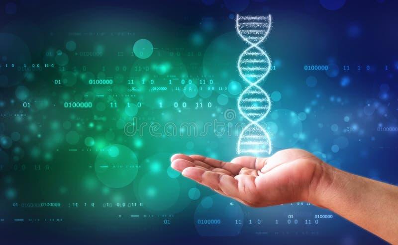 La DNA y las genéticas investigan el concepto, fondo abstracto médico foto de archivo